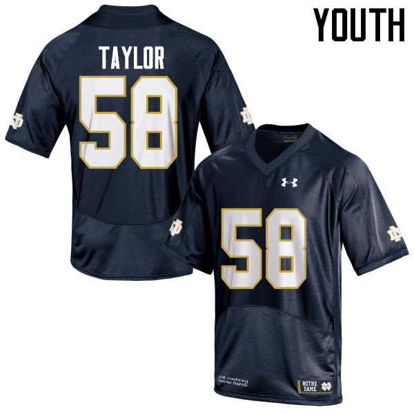 Youth #58 Elijah Taylor Notre Dame Fighting Irish College Football Jerseys-Navy Blue