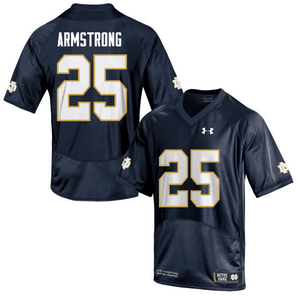 Men #25 Jafar Armstrong Notre Dame Fighting Irish College Football Jerseys Sale-Navy