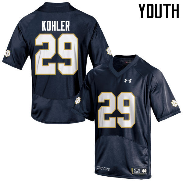 Youth #29 Sam Kohler Notre Dame Fighting Irish College Football Jerseys-Navy Blue
