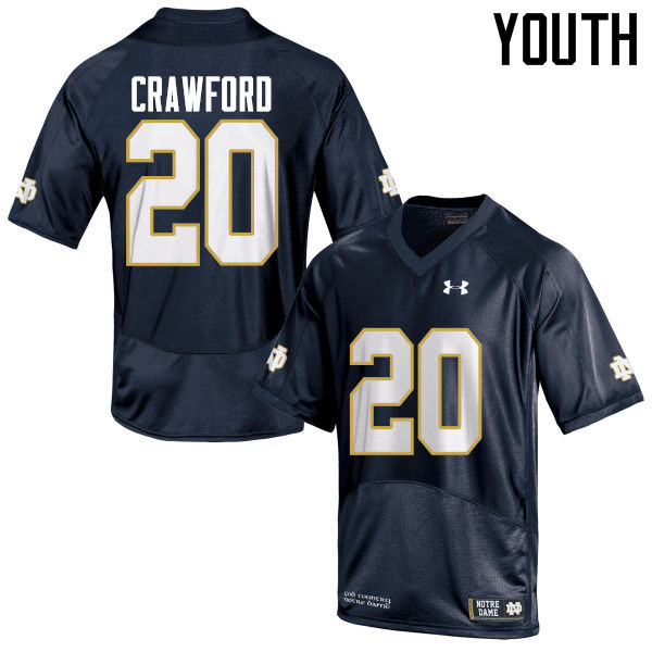 Youth #20 Shaun Crawford Notre Dame Fighting Irish College Football Jerseys-Navy Blue