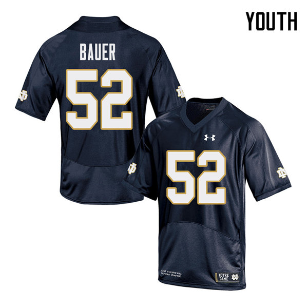 Youth #52 Bo Bauer Notre Dame Fighting Irish College Football Jerseys Sale-Navy