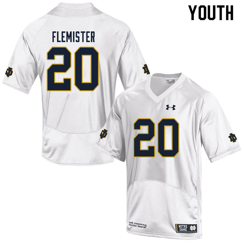 Youth #20 C'Borius Flemister Notre Dame Fighting Irish College Football Jerseys Sale-White