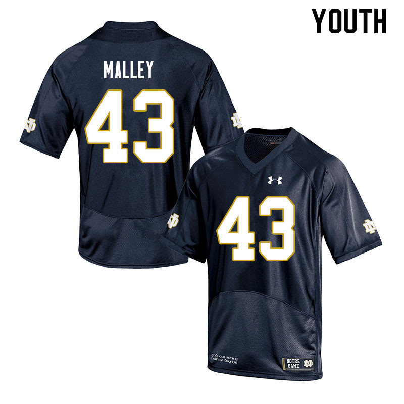Youth #43 Greg Malley Notre Dame Fighting Irish College Football Jerseys Sale-Navy