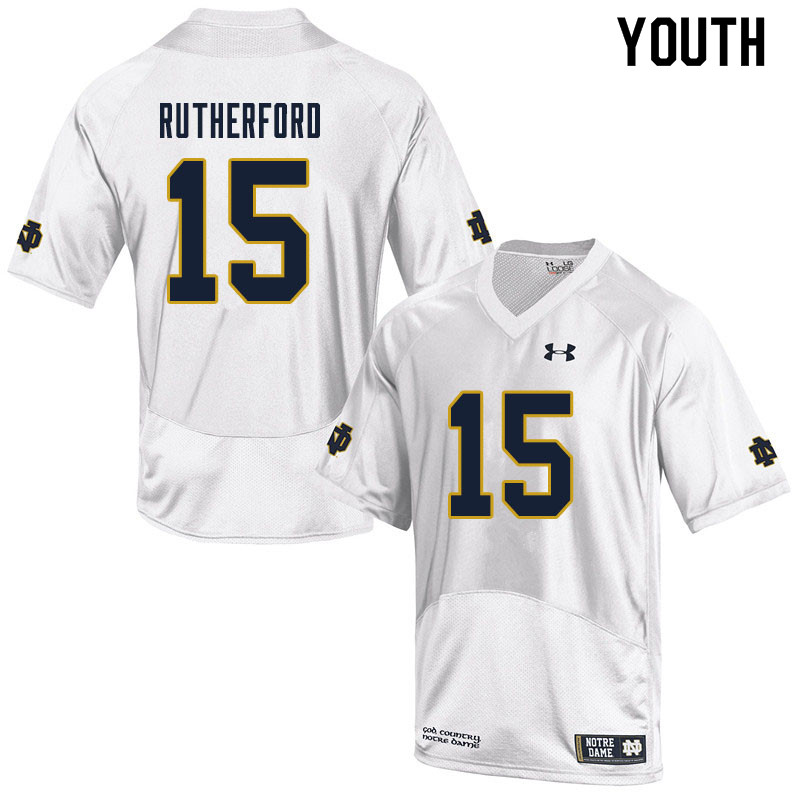 Youth #15 Isaiah Rutherford Notre Dame Fighting Irish College Football Jerseys Sale-White